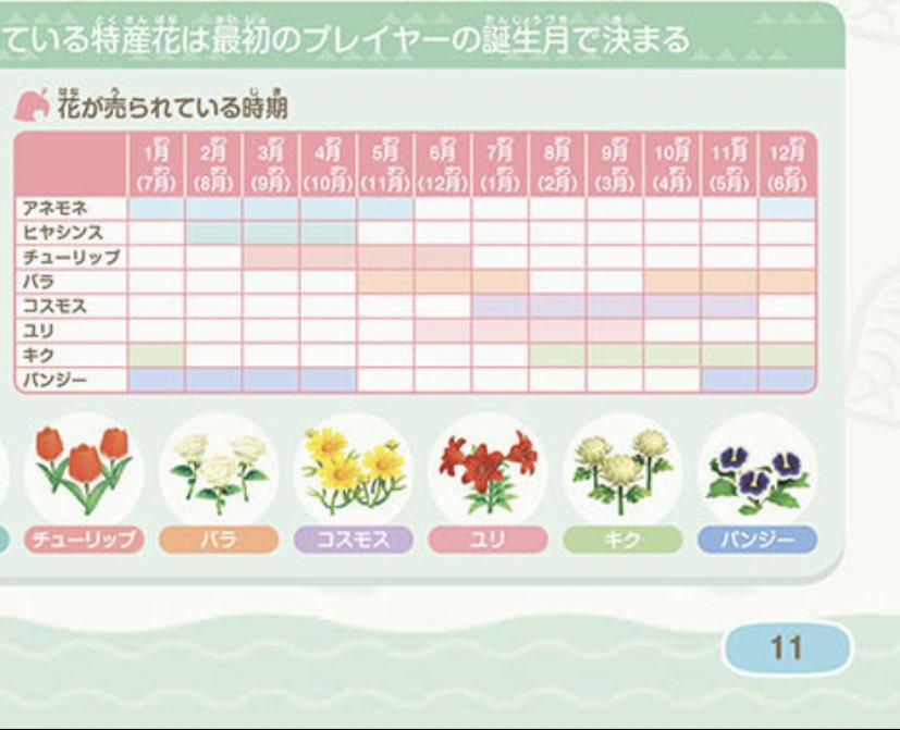 【どうぶつの森】特産の花は誕生月で決まるみたい(色んなまとめ)